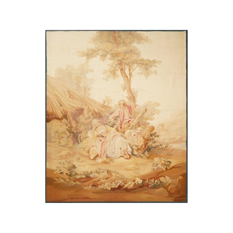 Title: A Romantic Scene Aubusson, 19th century Dimensions: 144 x 175 cm; 56.7 x 68.9 in  These two tapestries dating from the early 19th century  They were made after cartoons of the 18th century.  These two love scenes with light colors reflect the