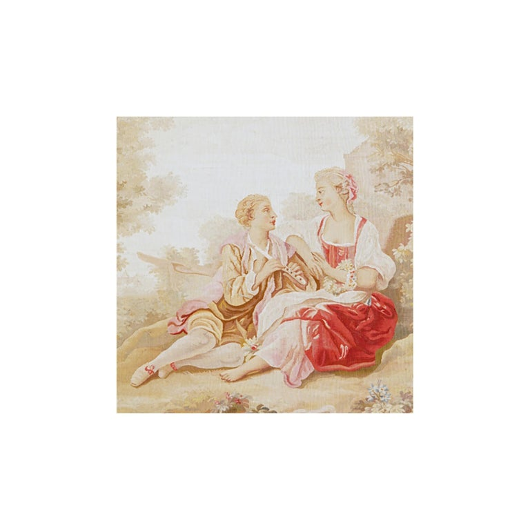 French 19th Century Antique Tapestry from Aubusson, A Romantic Scene For Sale