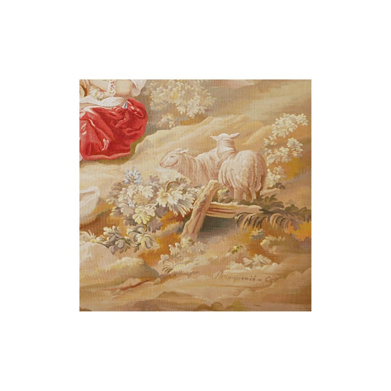 Hand-Woven 19th Century Antique Tapestry from Aubusson, A Romantic Scene For Sale