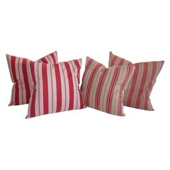 19th Century Antique Ticking Pillows / Two Pairs