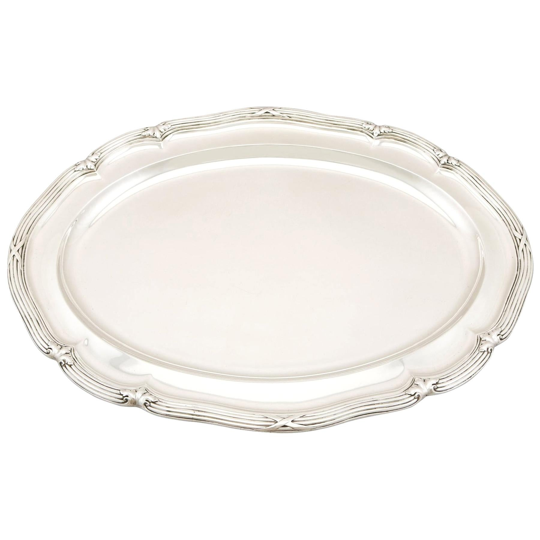 19th Century Antique Victorian 1839 Sterling Silver Meat Platter