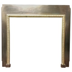 19th Century Antique Victorian Brass and Cast Iron Fireplace Insert