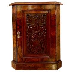 19th Century Antique Victorian Burr Walnut Carved Corner Cupboard
