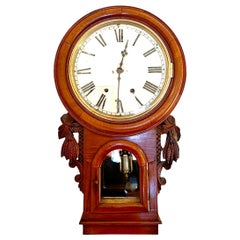 19th Century Antique Victorian Carved Walnut Eight Day Wall Clock