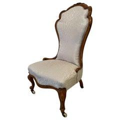 19th Century Antique Victorian Carved Walnut Ladies Chair