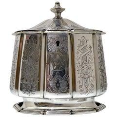 19th Century Antique Victorian Silver Plate Tea Caddy, circa 1855, Elkington