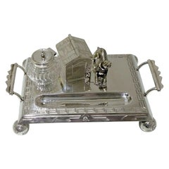 19th Century Antique Victorian Silver Plated Novelty Inkstand, circa 1870