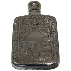 19th Century Antique Victorian Sterling Silver Hip Flask London 1873 CH Cheshire