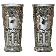 19th Century Antique Victorian Sterling Silver Pair Vases London 1892 Barnard's