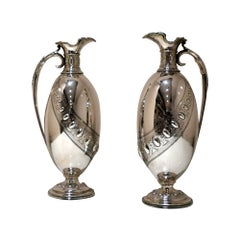 19th Century Antique Victorian Sterling Silver Pair Wine Jugs Lond 1870 Barnards
