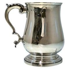 19th Century Antique Victorian Sterling Silver Pint Mug London 1896 Fordham