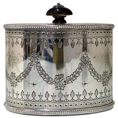 19th Century Antique Victorian Sterling Silver Tea Caddy Lond 1873 Henry Holland