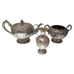 19th Century Antique Victorian Sterling Silver Three-Piece Teaset Edinburgh 1870