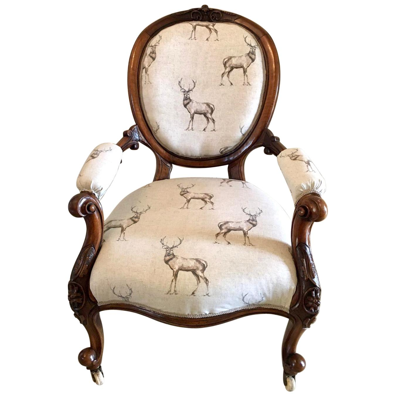 19th Century Antique Victorian Walnut Carved Armchair