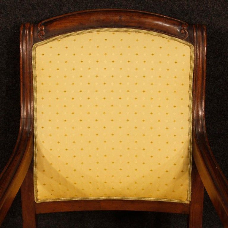 19th Century Antique Wooden and Fabric French Armchairs, 1880 For Sale 7