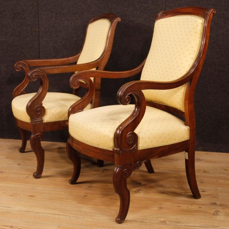 19th Century Antique Wooden and Fabric French Armchairs, 1880 For Sale 8