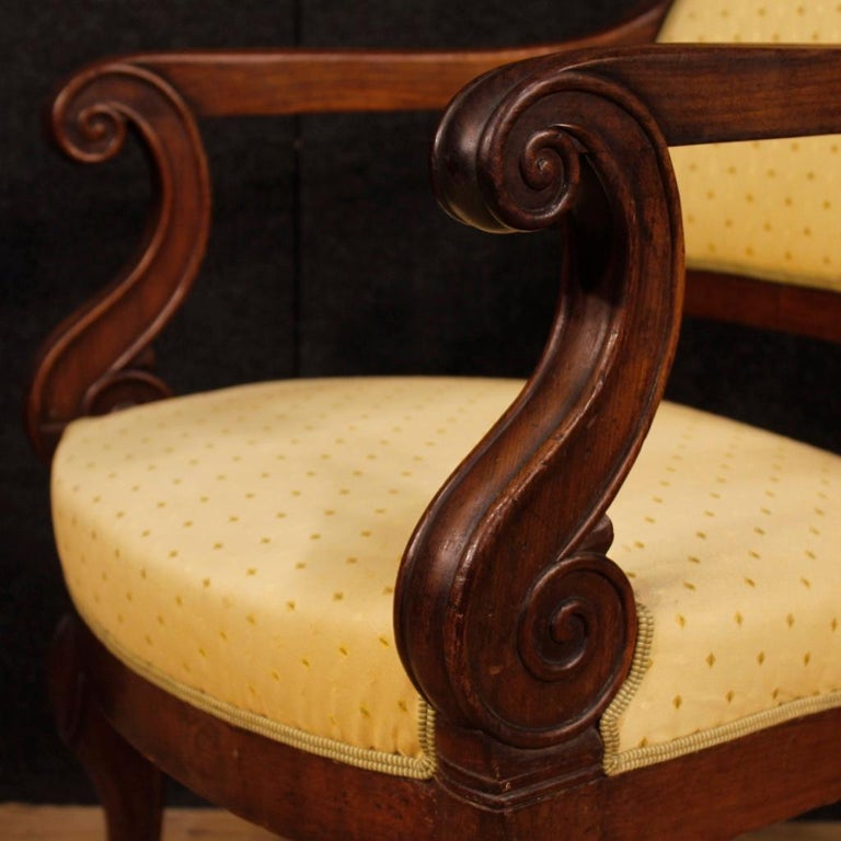 French male/female armchairs from the late 19th century. Non-identical furniture with slightly different cuts and measurements (see photo). Armchairs upholstered in fabric with some small signs (see photo), padding in good condition. Armchairs ideal