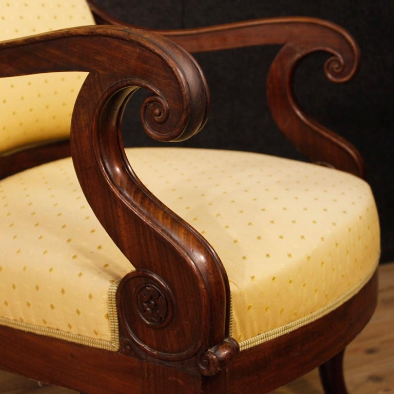 19th Century Antique Wooden and Fabric French Armchairs, 1880 In Fair Condition For Sale In Vicoforte, Piedmont