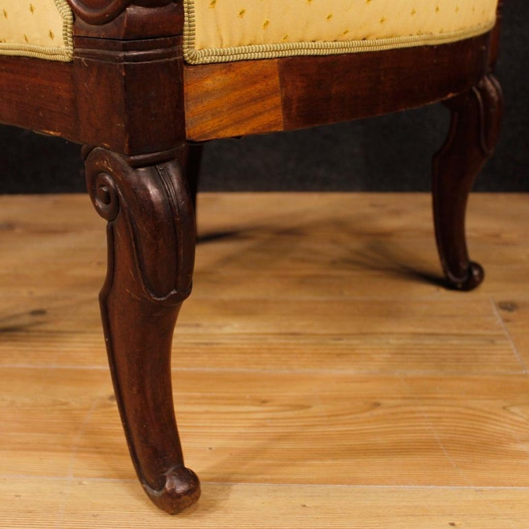 19th Century Antique Wooden and Fabric French Armchairs, 1880 For Sale 1