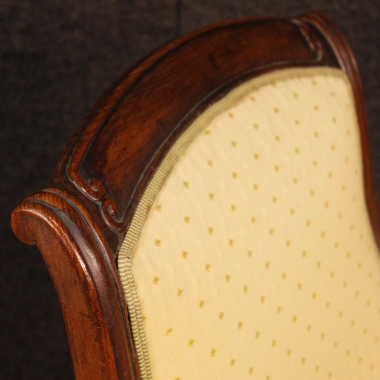 19th Century Antique Wooden and Fabric French Armchairs, 1880 For Sale 2