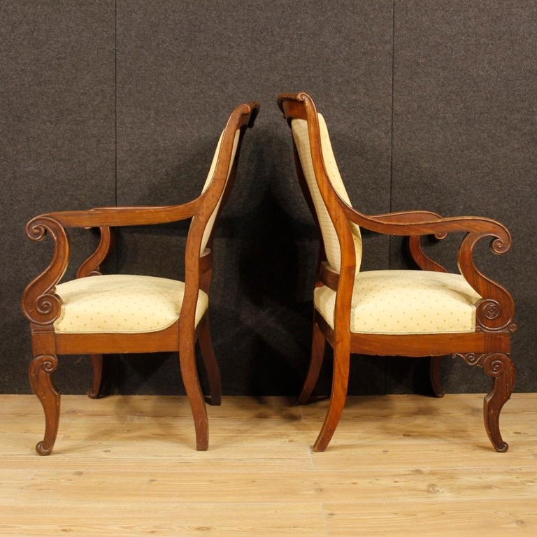 19th Century Antique Wooden and Fabric French Armchairs, 1880 For Sale 4
