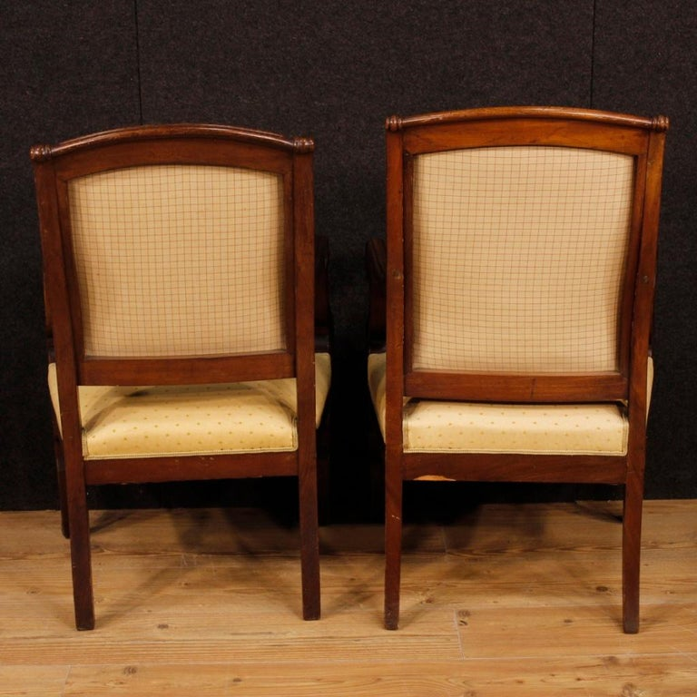 19th Century Antique Wooden and Fabric French Armchairs, 1880 For Sale 5
