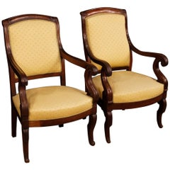 19th Century Antique Wooden and Fabric French Armchairs, 1880