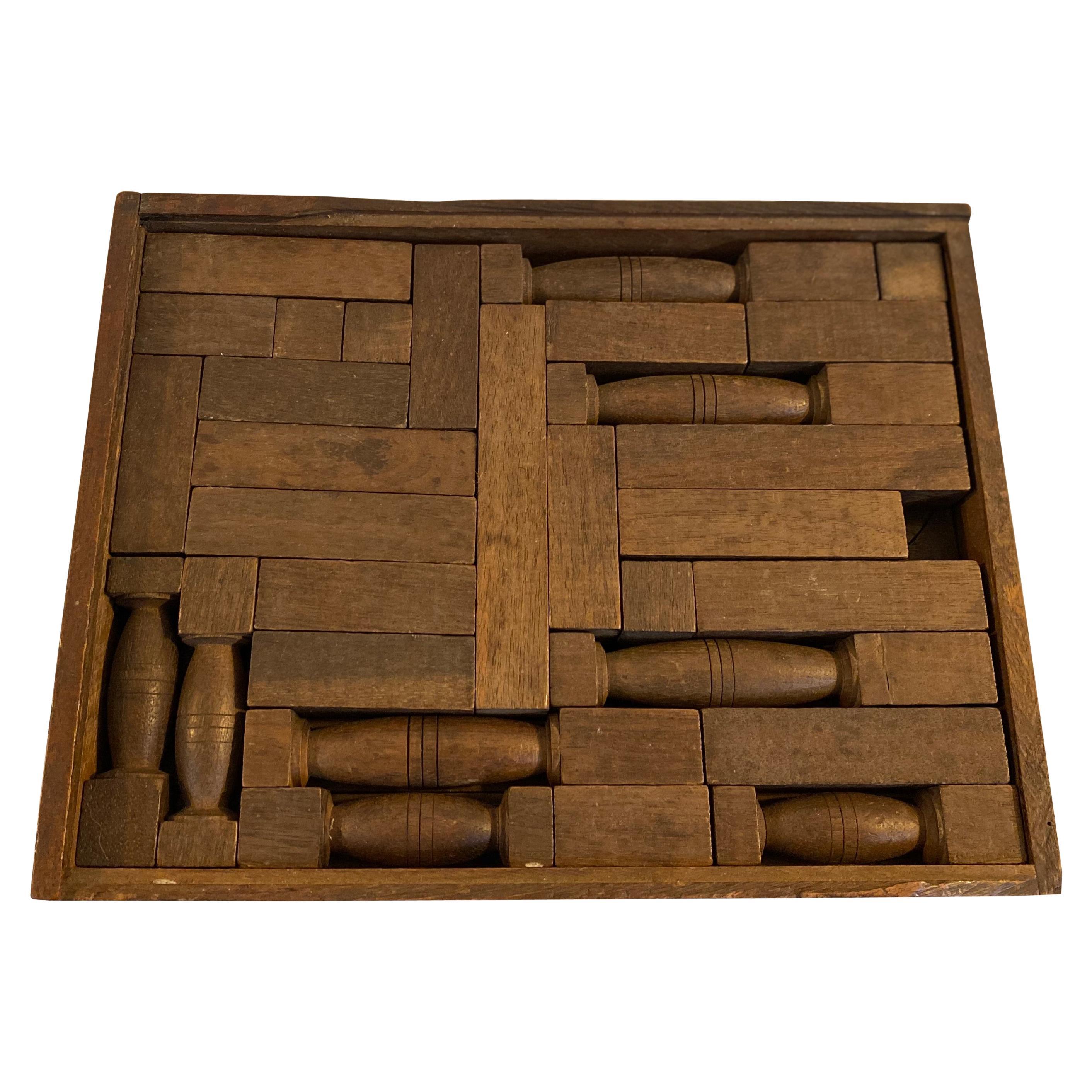19th Century Antique Wooden Building Blocks / Game Pieces