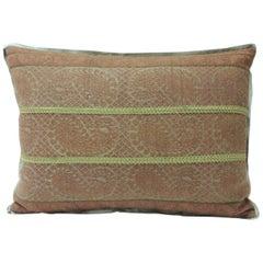 19th Century Antique Woven Red Kashmir Paisley Bolster Decorative Pillow