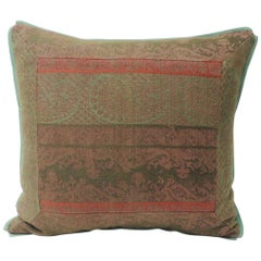 19th Century Antique Woven Red Kashmir Paisley Square Decorative Pillow