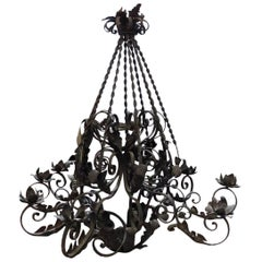 19th Century, Antique Wrought Iron Chandelier