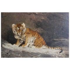"19th Century Antoine Louis Barye ""Tiger"" Painting"