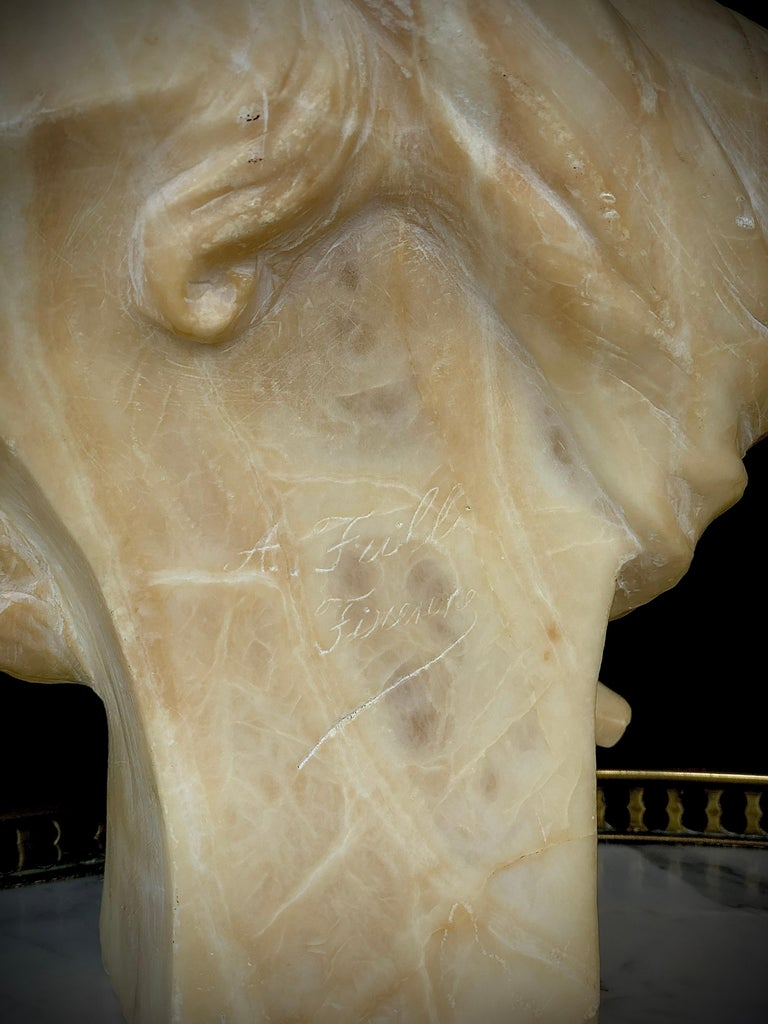Late 19th Century 19th Century Antonio Frill Carved Alabaster Bust For Sale