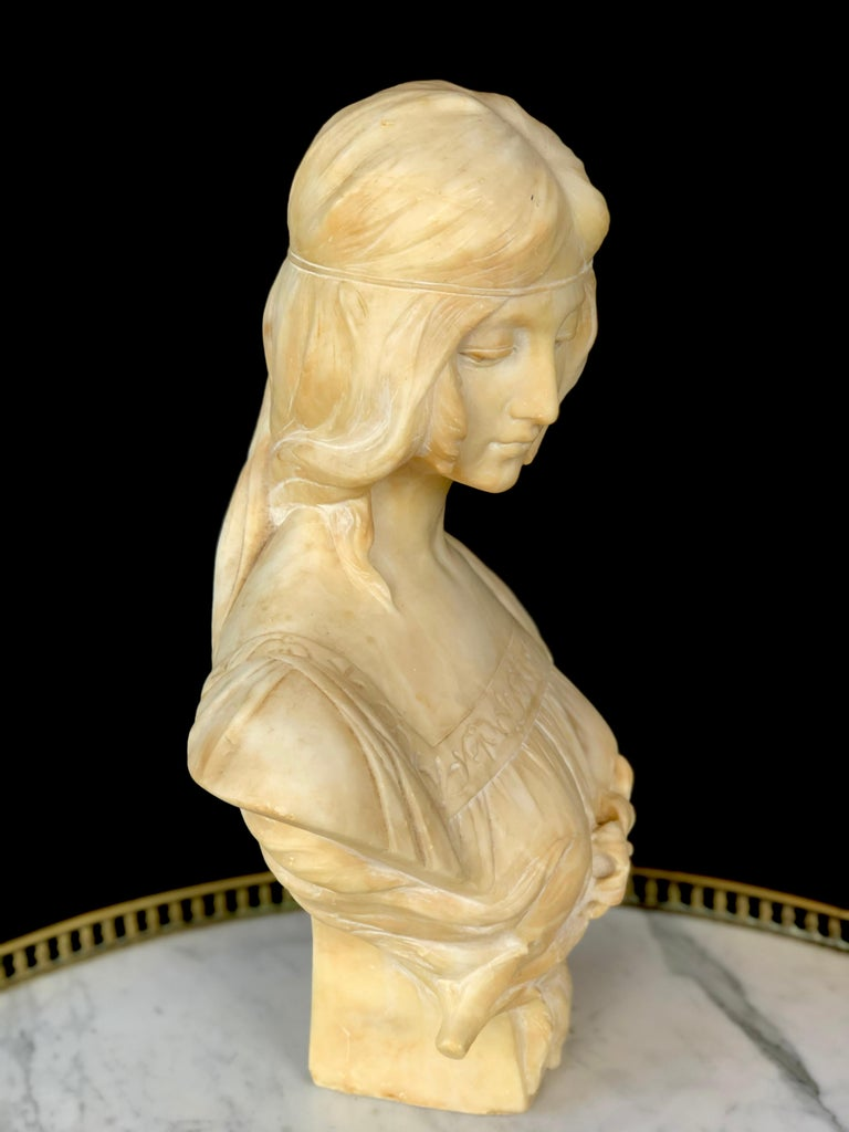 19th Century Antonio Frill Carved Alabaster Bust For Sale 1