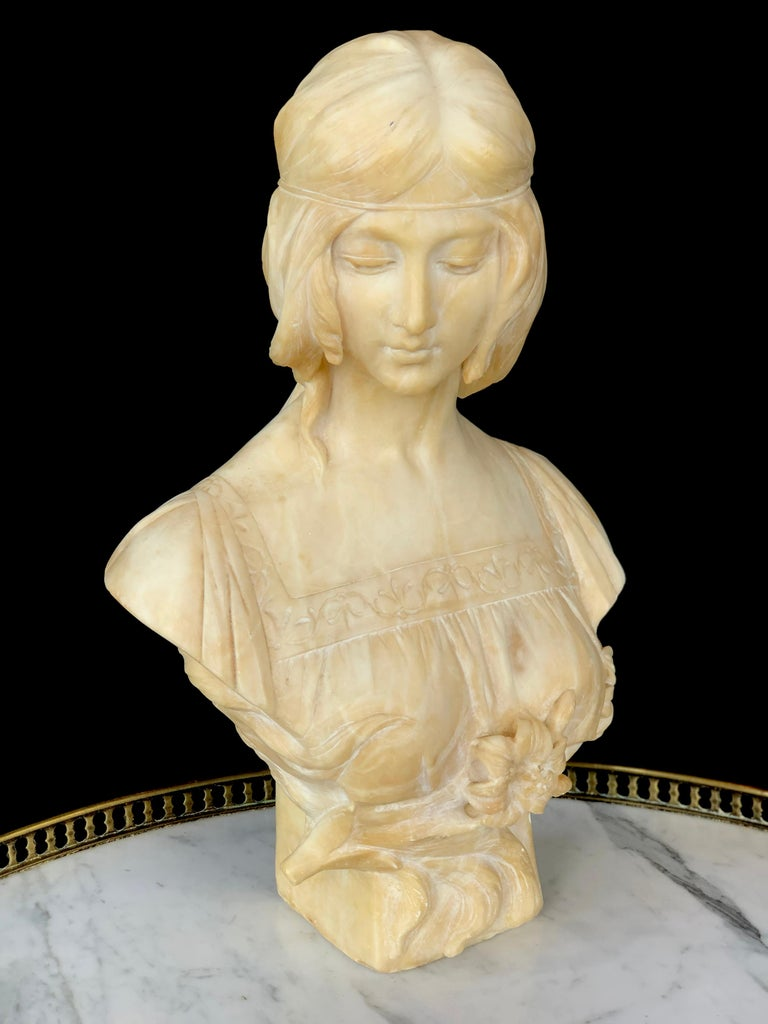 19th Century Antonio Frill Carved Alabaster Bust For Sale 2