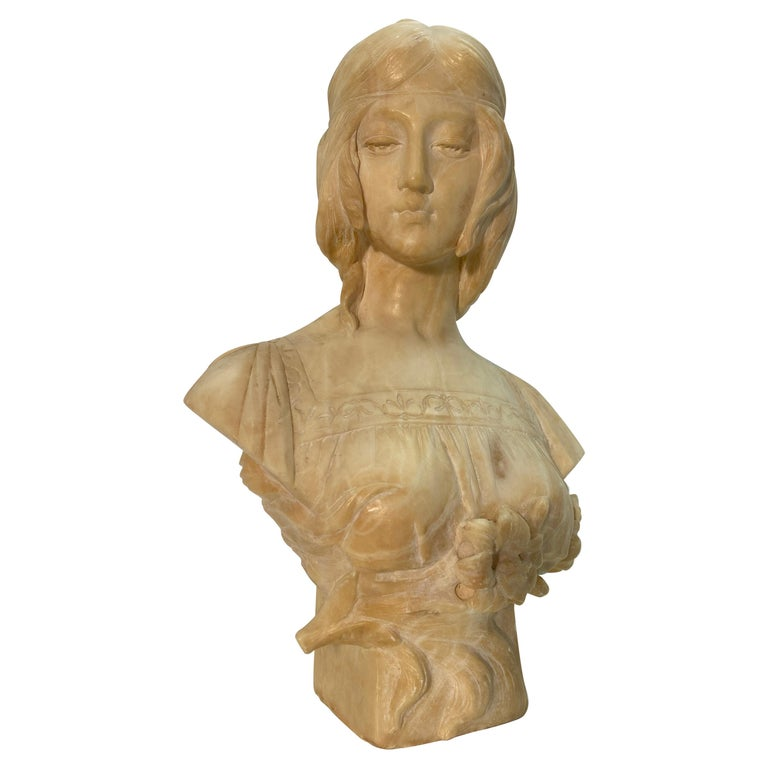 19th Century Antonio Frill Carved Alabaster Bust For Sale