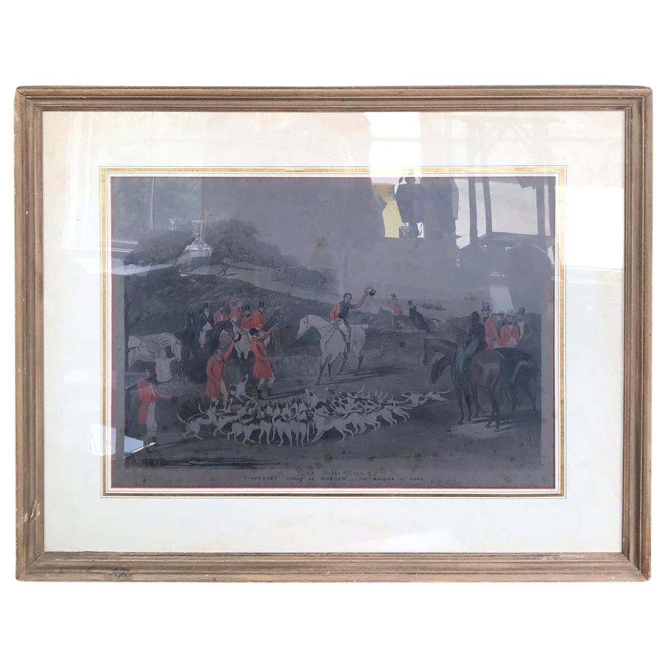 """19th Century Aquatint Engraving of the Noble Tips """"Tipperary Killing No Murder"""""""