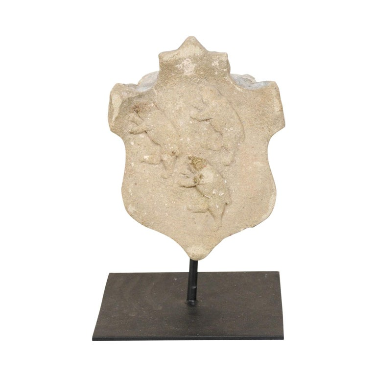 19th Century Aragon Stone Marker with Great Patina on Custom Stand, Spain For Sale