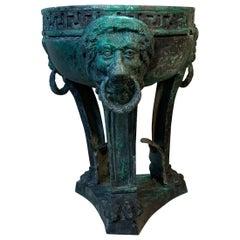 19th Century Architectural Bronze Lion Head Urn Element