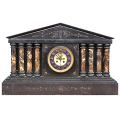 19th Century Architectural Clock in Black Onyx Marble