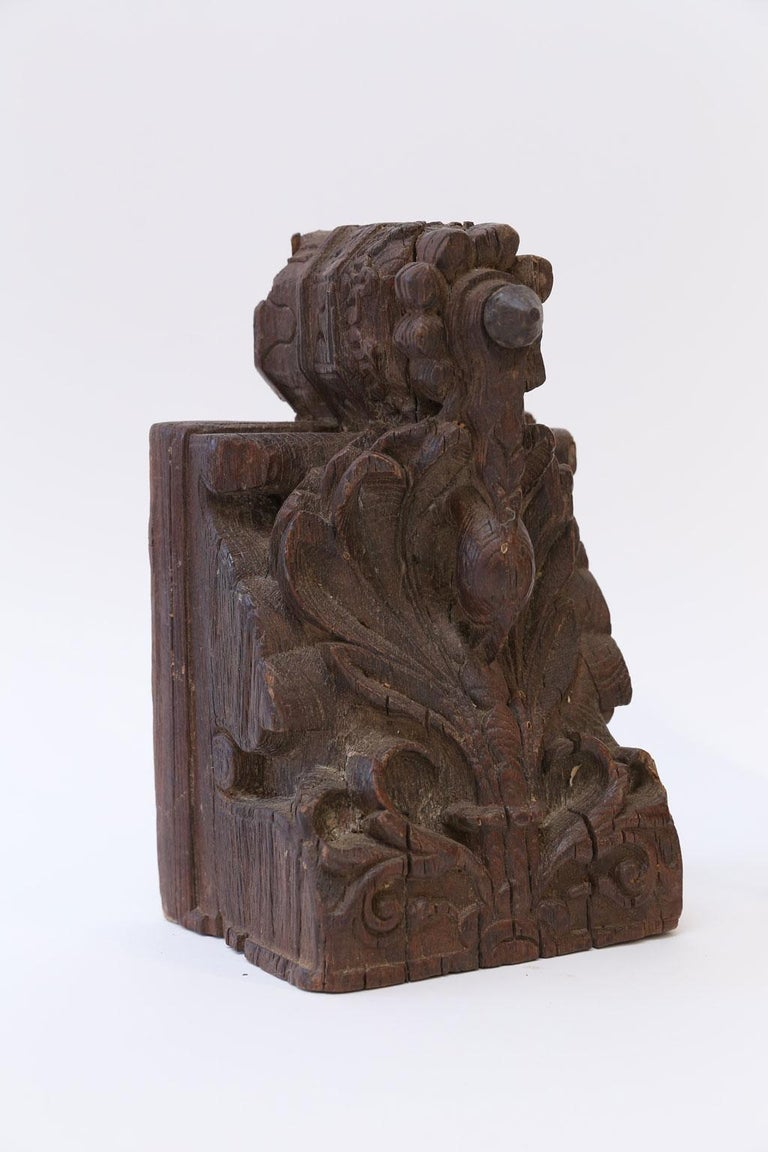 Hand-Carved Dark Brown Carved Wood Architectural Fragment For Sale