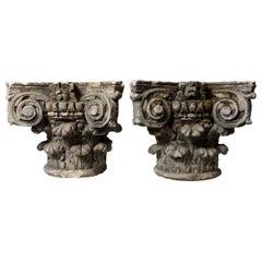 19th Century Architectural Salvage Limestone Pillar Column Capitals