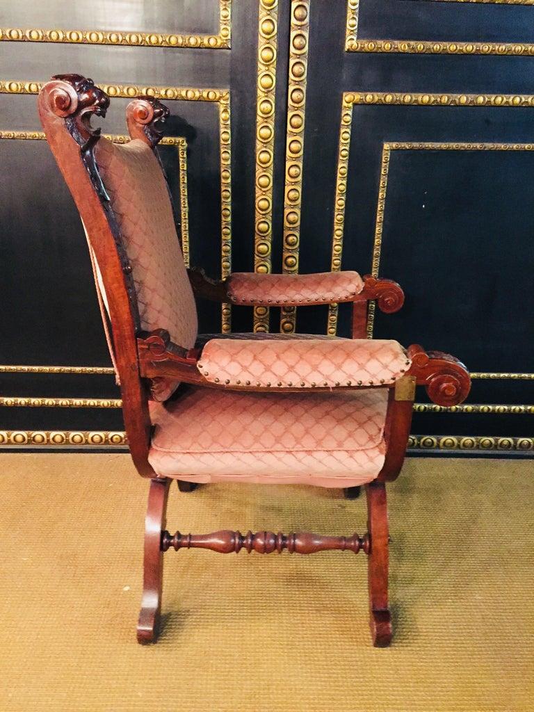 19th Century Armchair Antique Baroque Style Scissor Chair Lion Heads For Sale 4