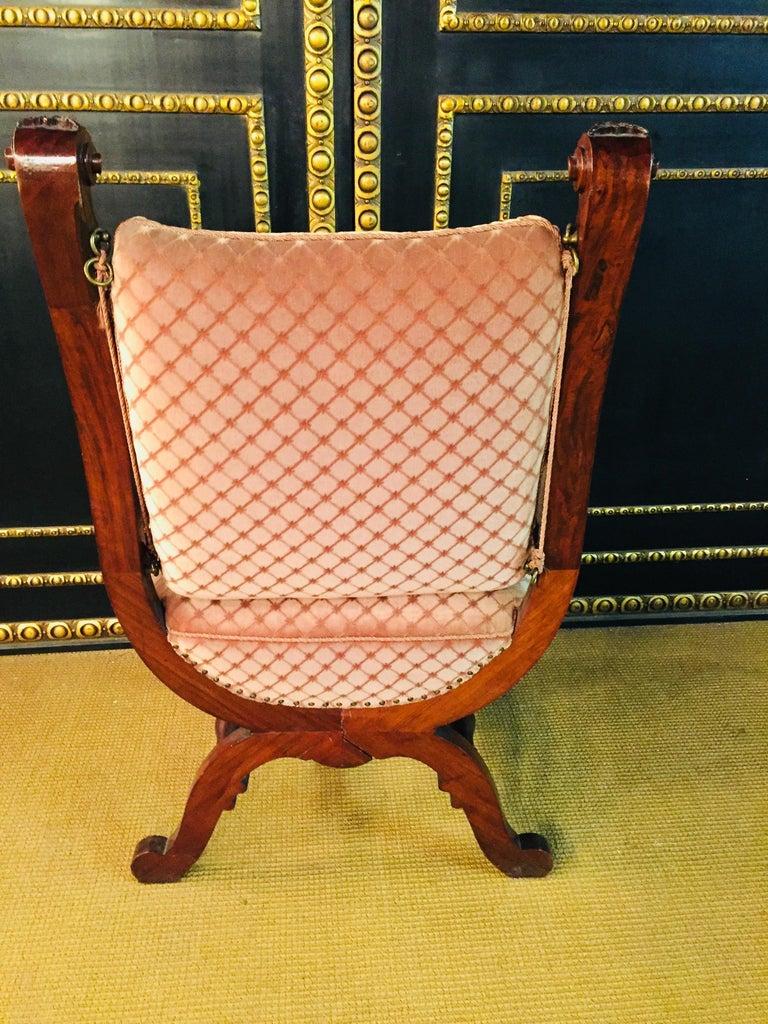19th Century Armchair Antique Baroque Style Scissor Chair Lion Heads For Sale 5