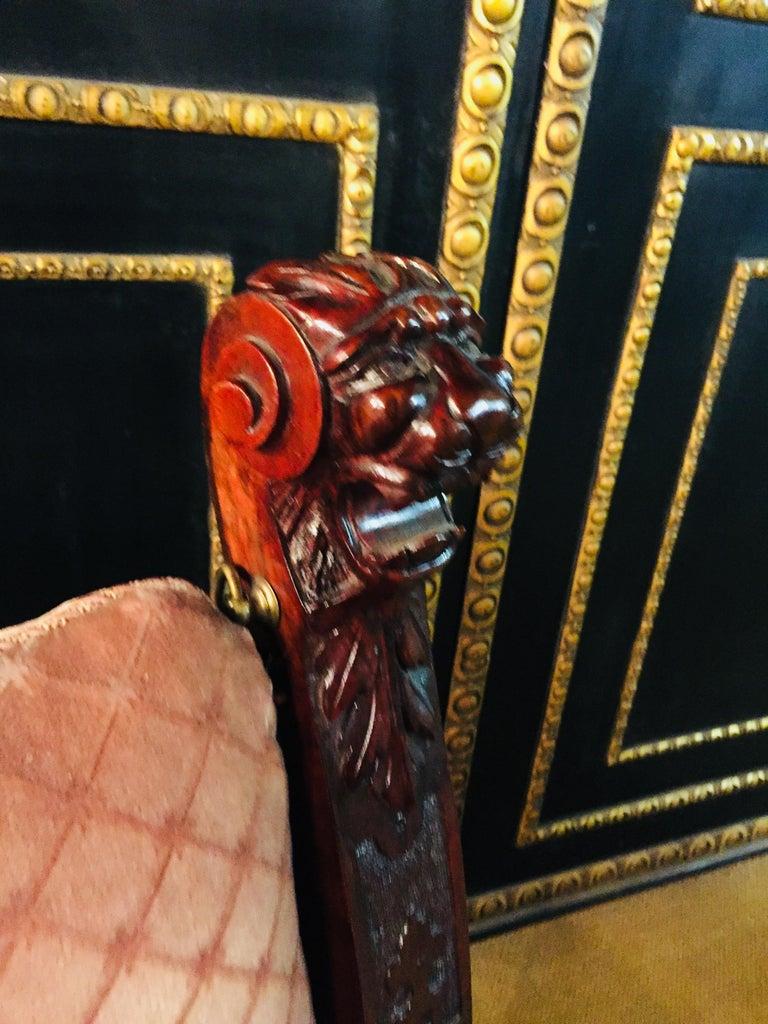 19th Century Armchair Antique Baroque Style Scissor Chair Lion Heads For Sale 6