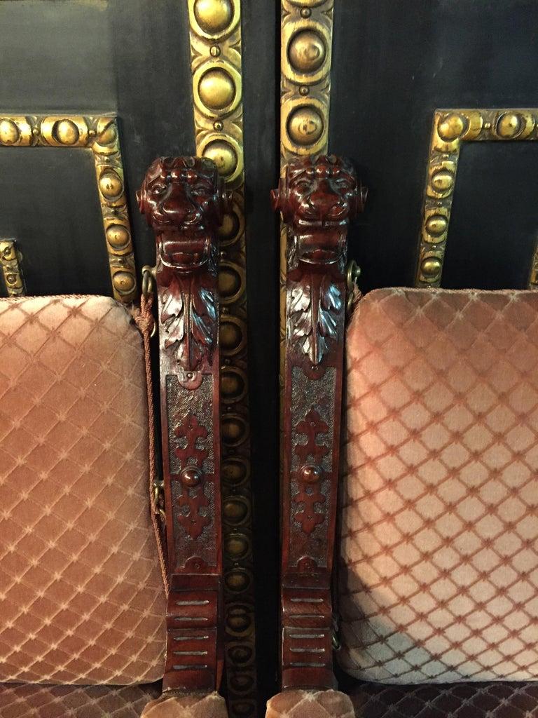 19th Century Armchair Antique Baroque Style Scissor Chair Lion Heads For Sale 8