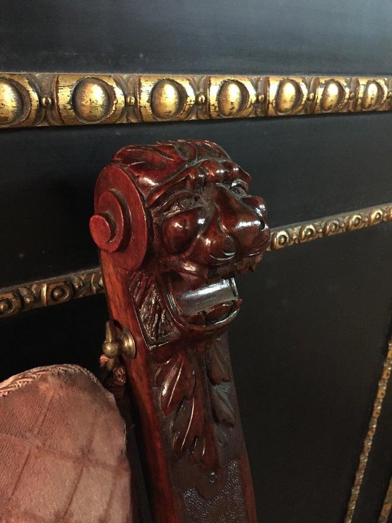 19th Century Armchair Antique Baroque Style Scissor Chair Lion Heads For Sale 9