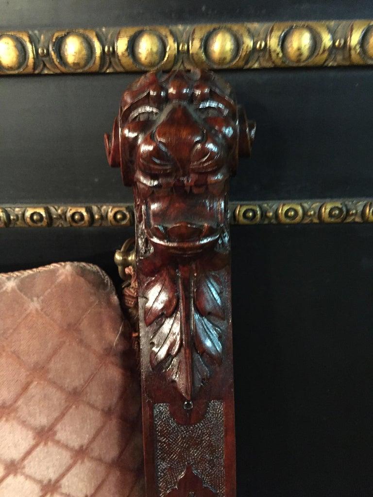19th Century Armchair Antique Baroque Style Scissor Chair Lion Heads For Sale 10