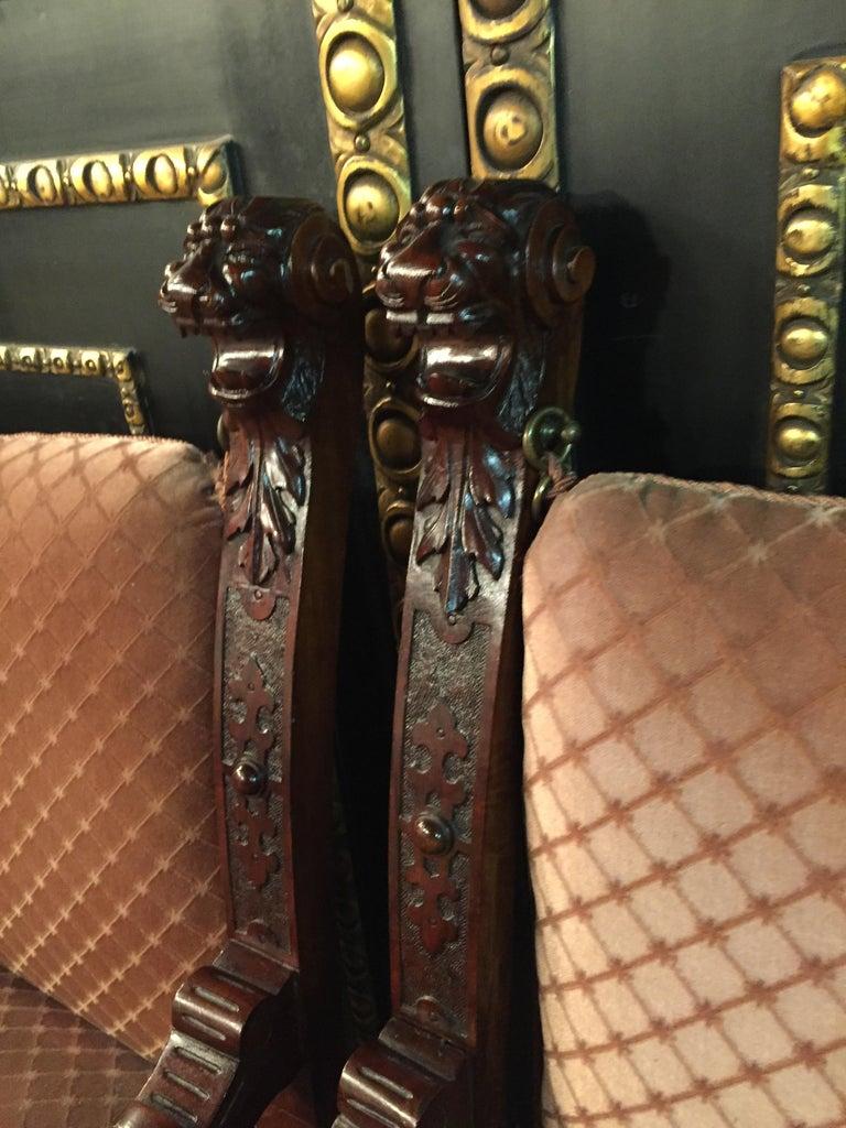 19th Century Armchair Antique Baroque Style Scissor Chair Lion Heads For Sale 11