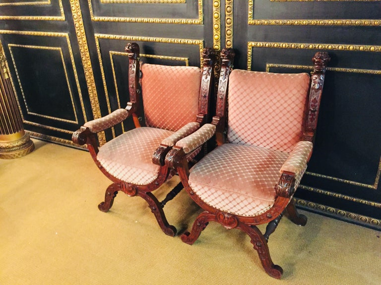 German 19th Century Armchair Antique Baroque Style Scissor Chair Lion Heads For Sale